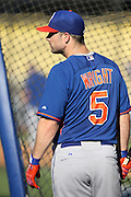 LOS ANGELES, CA - AUGUST 22:  David Wright #5 of the New York Mets looks on during batting practice before the game against the Los Angeles Dodgers at Dodger Stadium on Friday, August 22, 2014 in Los Angeles, California. The Dodgers won the game 6-2. (Photo by Paul Spinelli/MLB Photos via Getty Images) *** Local Caption *** David Wright