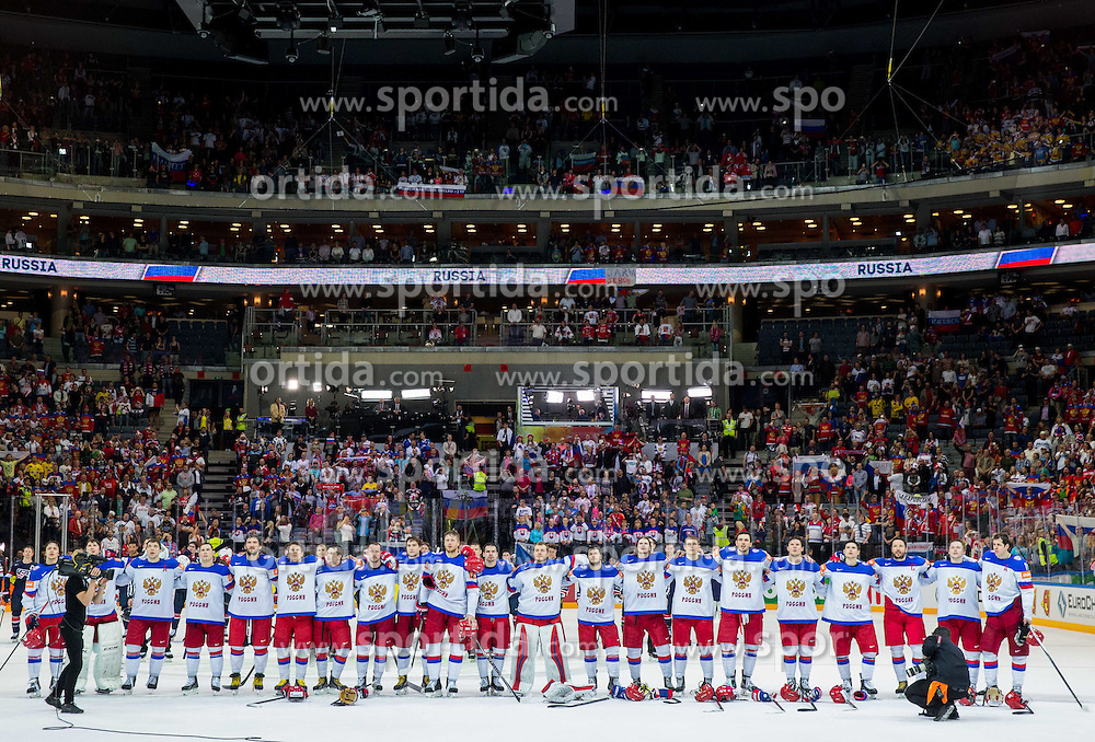 Team Russia listening to the national anthem after winning during Ice Hockey match between USA and Russia at Semifinals of 2015 IIHF World Championship, on May 16, 2015 in O2 Arena, Prague, Czech Republic. Photo by Vid Ponikvar / Sportida