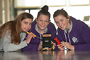 01/05/2015  repro free Orlaith Lyons, Katie Burke  and  Orla Waters from Colaiste Mhuire, Ennis Co Clare,  with their robots at the Irish Robotics Championship where over 450 second level students competed for the coveted trophy supported by  EA Games. Photo:Andrew Downes: XPOSURE