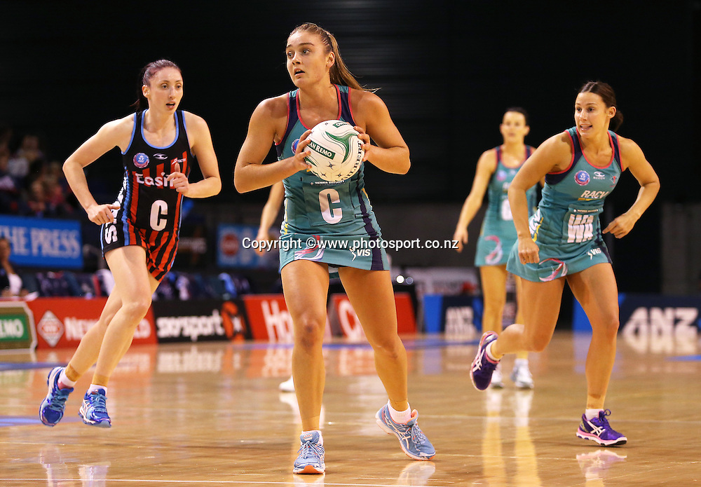 Elizabeth Watson of the Vixens with the ball during the ANZ Championship Netball between Mainland Tactix v Melbourne Vixens, held at CBS Arena, Christchurch. 31 March 2014 Photo: Joseph Johnson/www.photosport.co.nz