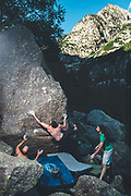 Climbers enjoying a climbing trip to Cavallers Dam in Lerida, Spain