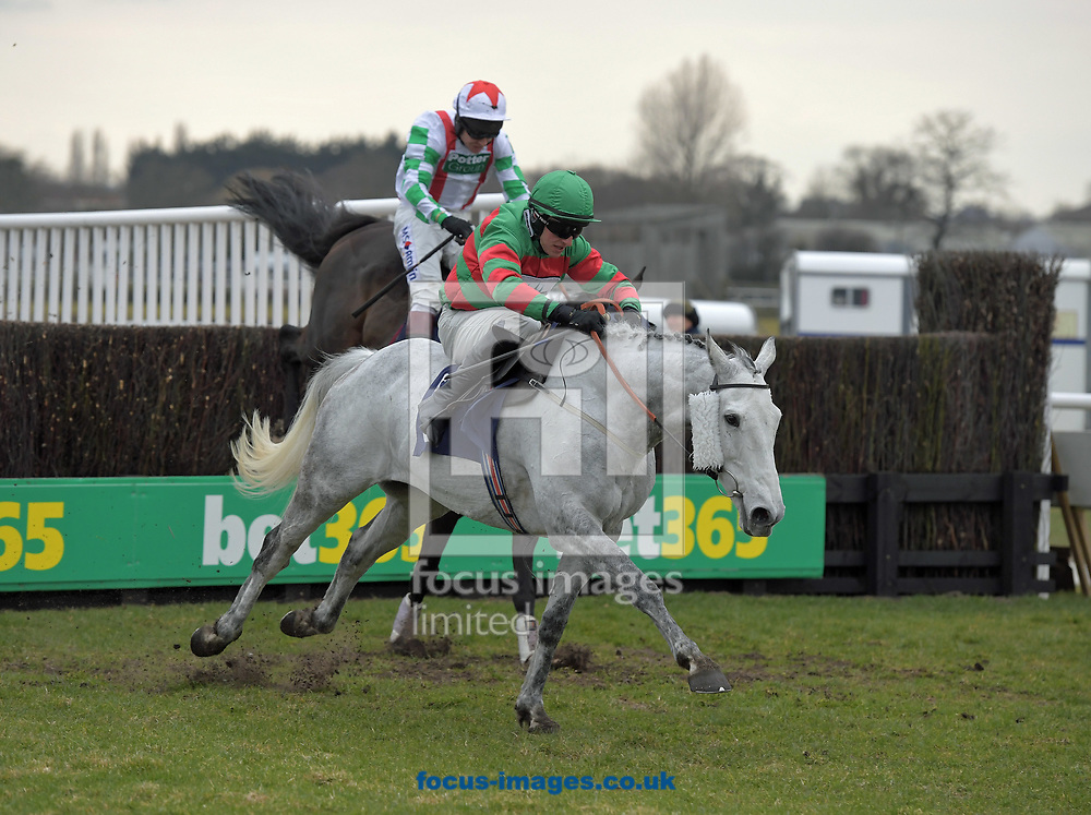 Gonalston Cloud ridden by Adam Wedge wins Get Daily Tips At racinguk.com Handicap Chase  during the Wear A Hat Day meeting  at Wetherby Racecourse, West Yorkshire<br /> Picture by Martin Lynch/Focus Images Ltd 07501333150<br /> 29/03/2018