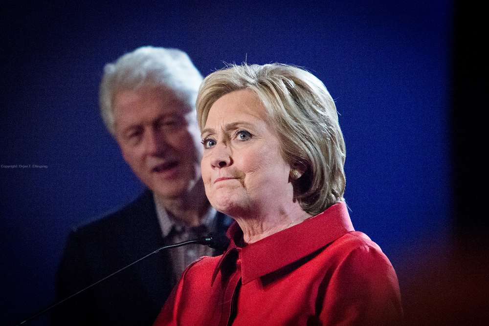 Democrate Presidential candidate Hillary Clinton along with her husband, former US President Bill Clinton at the Caesar Hotel and Casino, where she thanked her volunteers and supporters for the Nevada caucus victory.
