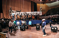Setting Up Lights for the Grateful Dead New Years Eve Concert at The San Francisco Civic Auditorium, 27 December 1984. Shot on Color Negative Film, Kodak CM135-36. Riggers & Crew hard at work !
