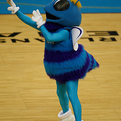 Mar 24, 2010; New Orleans, LA, USA; New Orleans Hornets mascot Hugo shoots a ball prior to tip off of a game against the Cleveland Cavaliers at the New Orleans Arena. Mandatory Credit: Derick E. Hingle-US PRESSWIRE