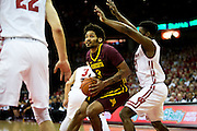 Forward Jordan Murphy (3) eyes the basket during the first half of the University of Minnesota Men's Basketball game versus University of Wisconsin on March 5, 2017.