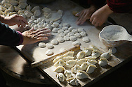 Making traditional dim sum Chinese dumplings. Meat dough pastry and spring onions cuisine. Farm kitchen Shandong Province, China