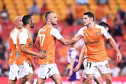 January 18, 2018 - Brisbane, QUEENSLAND, AUSTRALIA - Ivan Franjic of the Roar (#77, 3rd left) celebrates with team mates after scoring a goal during the round seventeen Hyundai A-League match between the Brisbane Roar and the Perth Glory at Suncorp Stadium on January 18, 2018 in Brisbane, Australia. (Credit Image: © Albert Perez via ZUMA Wire)