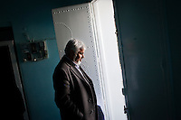 Kairouan, Tunisia - 18 December, 2011: Said Ferjani, 57, senior member of the political and communication bureau of the Nahda (Renaissance) party, exits the house of his former high school teacher Sheilch Abdulwahab, 80, in Kairouan, Tunisia on 18 December, 2011. Said Ferjani started his activism in the Negra mosque of his hometown Kairouan when he was 16 years old, debating on politics, philosophy, economy and world events. In 1989 former dictator Zine El Abidine Ben Ali turned against Nahda (or Ennahda) and jailed 25,000 activists. Said Ferjani was jailed and tortured. He then flew Tunisia and moved to the UK. He came back to Tunisia after 22 years, after former dictator Ben Ali flew the country.<br /> <br /> Gianni Cipriano for The New York Times