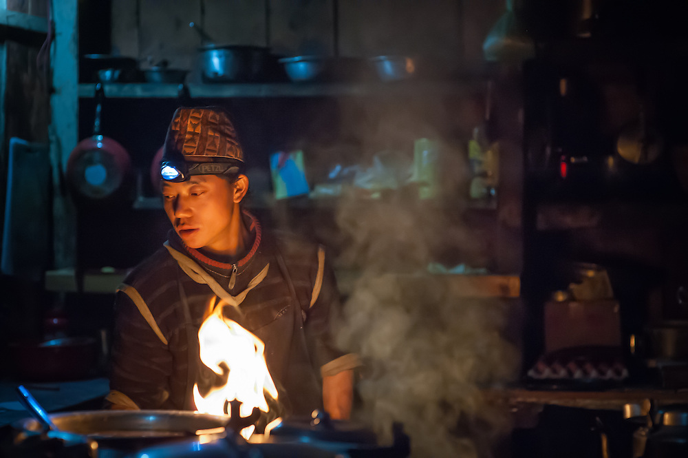 Cooking with headlamp (Nepal)