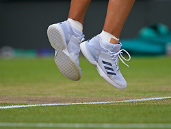 LONDON, ENGLAND - Monday, July 9, 2018: The Adidas shoes of Angelique Kerber (GER) during the Ladies' Singles 4th Round match on day seven of the Wimbledon Lawn Tennis Championships at the All England Lawn Tennis and Croquet Club. (Pic by Kirsten Holst/Propaganda)