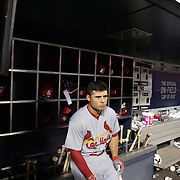 NEW YORK, NEW YORK - July 27: Aledmys Diaz #36 of the St. Louis Cardinals in the dugout preparing to bat during the St. Louis Cardinals Vs New York Mets regular season MLB game at Citi Field on July 27, 2016 in New York City. (Photo by Tim Clayton/Corbis via Getty Images)