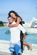 14_070714<br /> <br /> Jessie and Jules had a beautiful on-location engagement photo shoot outside of Detroit at  Belle Isle Park.  We started at the pier overlooking the water, moving to the gorgeous bridges and fountain and finishing up at the nearby marina with the skyline of Detroit as the background.  We even met up with their rottweiler dog Jax.