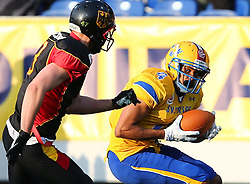 03.06.2014, NV Arena, St. Poelten, AUT, American Football Europameisterschaft 2014, Gruppe A, Schweden (SWE) vs Deutschland (GER), im Bild Sebastian Schoenbroich, (Team Germany, DB, #3) und Amat Jobe, (Team Sweden, WR, #4) // during the American Football European Championship 2014 group A game between Sweden vs Germany at the NV Arena, St. Poelten, Austria on 2014/06/03. EXPA Pictures © 2014, PhotoCredit: EXPA/ Thomas Haumer
