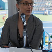 August 16, 2014, New Haven, CT:<br /> Panelist Fran Pastore speaks during the Aetna Symposium on day four of the 2014 Connecticut Open at the Yale University Tennis Center in New Haven, Connecticut Monday, August 18, 2014.<br /> (Photo by Billie Weiss/Connecticut Open)
