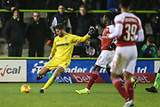 Forest Green Rovers goalkeeper James Montgomery clears the ball during the EFL Trophy group stage match between Forest Green Rovers and U21 Arsenal at the New Lawn, Forest Green, United Kingdom on 7 November 2018.