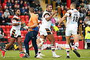 Bradford Bulls replacement Ross Peltier (17) scores a try and celebrates  to make the score  10-12 during the Kingstone Press Championship match between Dewsbury Rams and Bradford Bulls at the Tetley's Stadium, Dewsbury, United Kingdom on 10 September 2017. Photo by Simon Davies.