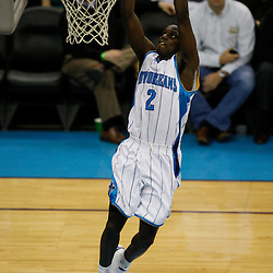 Mar 22, 2010; New Orleans, LA, USA; New Orleans Hornets guard Darren Collison (2) dunks on a fast break against the Dallas Mavericks during the second half at the New Orleans Arena. Mandatory Credit: Derick E. Hingle-US PRESSWIRE