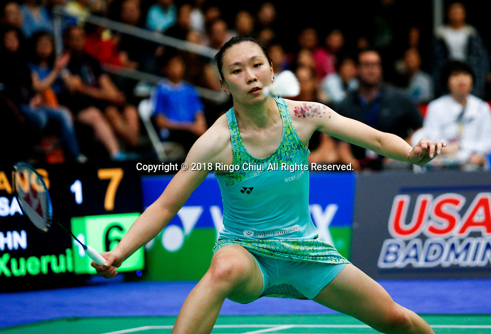 China's Li Xuerui claims title of U.S. Open Badminton Championships women's singles <br /> <br /> Beiwen Zhang of USA, competes with Li Xuerui of China, during the women's singles final match at the U.S. Open Badminton Championships on Sunday, June 17, 2018 in Fullerton, California. Li won 2-1. (Xinhua/Zhao Hanrong)<br /> (Photo by Ringo Chiu)<br /> <br /> Usage Notes: This content is intended for editorial use only. For other uses, additional clearances may be required.