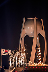 09-02-2018 KOR: Olympic Games day -1, PyeongChang<br /> Openingsceremonie Pyeongchang 2018 Olympic Winter Games / South Korean figure skater Kim Yu-na prepares to light the cauldron with the Olympic Flame during the opening ceremony of the Pyeongchang 2018 Winter Olympic Games at the Pyeongchang Stadium