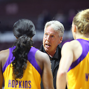 UNCASVILLE, CONNECTICUT- May 2:  Brian Agler, head coach of the Los Angeles Sparks talks to his players during a time out during the Los Angeles Sparks Vs New York Liberty, WNBA pre season game at Mohegan Sun Arena on May 2, 2017 in Uncasville, Connecticut. (Photo by Tim Clayton/Corbis via Getty Images)