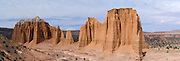 Panoramic view of Cathedral Valley, Capitol Reef National Park, near Torrey, Utah.