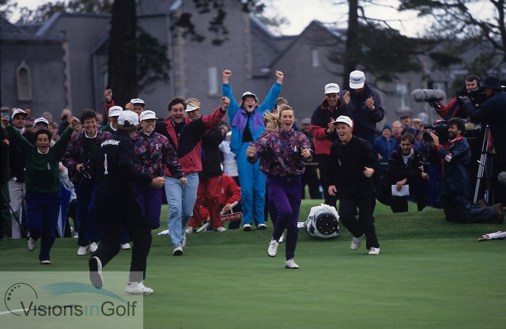 Catrin Nilsmark - Gothenburg, Sweden, sinks the winning putt for the European team to win<br /> European Team Winners the<br /> Solheim Cup 1992 and the rest of the team celebrate<br /> Mickey Walker (Captain) - England<br /> Helen Alfredsson - Gothenburg, Sweden<br /> Laura Davies - Coventry, England<br /> Florence Descampe - Brussels, Belgium<br /> Kitrina Douglas - England<br /> Trish Johnson - Bristol, England<br /> Liselotte Neumann - Finspang, Sweden<br /> Alison Nicholas - Gibraltar<br /> Dale Reid - Ladybank, Scotland<br /> Pam Wright - Torphins, Scotland<br /> <br /> Picture Credit:  Mark Newcombe / www.visionsingolf.com
