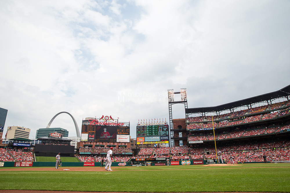 ST. LOUIS, MO - JUNE 16: A general view of Busch Stadium during a game between the St. Louis Cardinals and the Minnesota Twins on June 16, 2015 in St. Louis, Missouri. The Cardinals defeated the Twins 3-2. (Photo by Brace Hemmelgarn) *** Local Caption ***