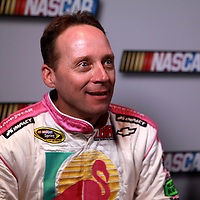 Driver Dave Blaney speaks with the media during the NASCAR Media Day event at Daytona International Speedway on Thursday, February 14, 2013 in Daytona Beach, Florida.  (AP Photo/Alex Menendez)