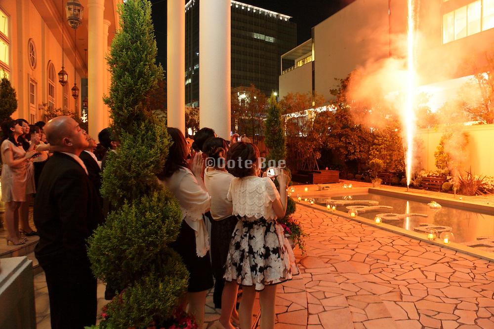 fireworks at a wedding celebration Japan