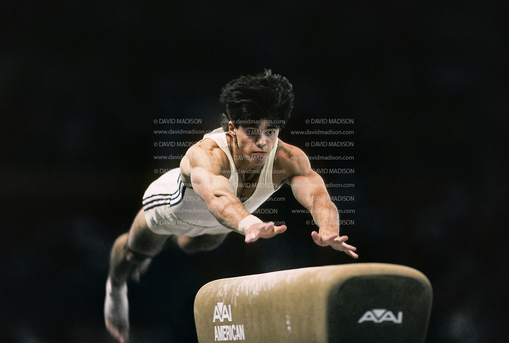 SEATTLE - JULY 1990:  Adrian Catanoiu of Romania performs on the vault during the Men's  Gymnastics competition of the 1990 Goodwill Games held from July 20 - August 5, 1990.  The gymnastics venue was the Tacoma Dome in Tacoma, Washington.  (Photo by David Madison/Getty Images)