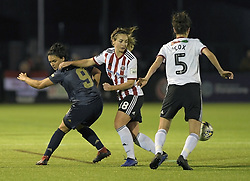 February 20, 2019 - Sheffield, United Kingdom - Jess Sigsworth (Manchester United) pushed off the ball by Maddy Cusack (Sheffield United) during the  FA Women's Championship football match between Sheffield United Women and Manchester United Women at the Olympic Legacy Stadium, on February 20th Sheffield, England. (Credit Image: © Action Foto Sport/NurPhoto via ZUMA Press)