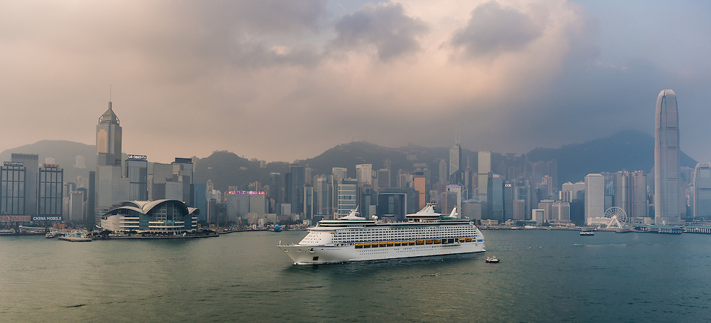 MS Voyager of the Seas cruise ship through the Victoria Harbour on 14 October 2015 in Hong Kong, China. Photo by Victor Fraile / illume visuals