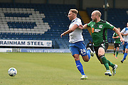 Bury Forward, Hallam Hope (24) and Scunthorpe United Defender, David Mirfin (6) during the EFL Sky Bet League 1 match between Bury and Scunthorpe United at the JD Stadium, Bury, England on 1 October 2016. Photo by Mark Pollitt.