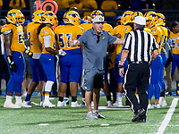 Grant Pacers head coach Mike Alberghini, argues a call during the second quarter as the Capitol Christian Cougars host the Grant Pacers,  Friday Sep 8, 2017. photo by Brian Baer