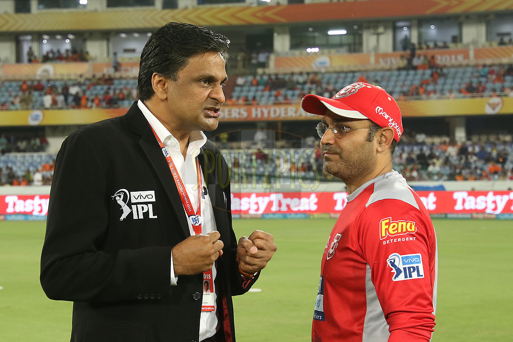 Virender Sehwag with match referee J.Sreenath during match twenty five of the Vivo Indian Premier League 2018 (IPL 2018) between the Sunrisers Hyderabad and the Kings XI Punjab  held at the Rajiv Gandhi International Cricket Stadium in Hyderabad on the 26th April 2018.<br /> <br /> Photo by Saikat Das /SPORTZPICS for BCCI