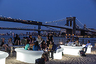New York Manhattan Pier 17, the water taxi beach, Manhattan and Brooklyn bridge on east river