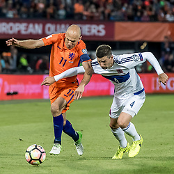 09.06.2017, De Kuip Stadium, Rotterdam, NED, FIFA WM 2018 Qualifikation, Niederlande vs Luxemburg, Gruppe A, im Bild Arjen Robben (L) of Netherlands and Kevin Malget (R) of Luxemburg // Arjen Robben (L) of Netherlands and Kevin Malget (R) of Luxemburg during the FIFA World Cup 2018, group A qualifying match between Netherlands and Luxemburg at the De Kuip Stadium in Rotterdam, Netherlands on 2017/06/09. EXPA Pictures © 2017, PhotoCredit: EXPA/ Focus Images/ Joep Joseph Leenen<br /> <br /> *****ATTENTION - for AUT, GER, FRA, ITA, SUI, POL, CRO, SLO only*****