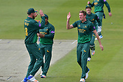 Jake Ball and Stuart Broad celebrate the wicket of Moeen Ali (not shown) during the Royal London 1 Day Cup match between Worcestershire County Cricket Club and Nottinghamshire County Cricket Club at New Road, Worcester, United Kingdom on 27 April 2017. Photo by Simon Trafford.