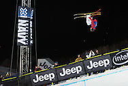 Kevin Rolland skis in his final run of the men's ski superpipe at the Winter X Games 2016 Aspen at Buttermilk Mountain on January 28, 2016, in Aspen, Colorado. Rolland won gold on his final run after scoring 93.33.