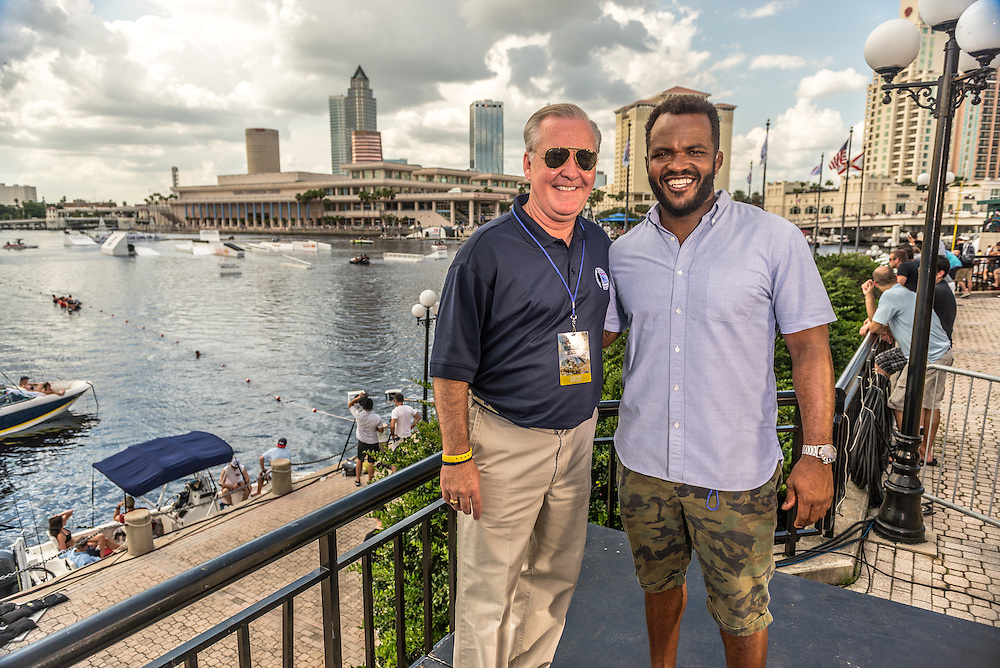 Tampa Bay Mayor Bob Buckhorn and NBC host Sal Masekela pose for a portrait at the park competition during the Red Bull Wake Open in Tampa, Florida, USA on 6 July 2013.