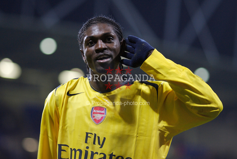 Bolton, England - Wednesday, February 14, 2007: Arsenal's Emmanuel Adebayor celebrates scoring the third goal against Bolton Wanderers during the FA Cup 4th Round Replay at the Reebok Stadium. (Pic by David Rawcliffe/Propaganda)