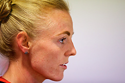 SOUTHAMPTON, ENGLAND - Thursday, April 5, 2018: Wales' captain Sophie Ingle during a press conference at St. Mary's Stadium ahead of the FIFA Women's World Cup 2019 Qualifying Round Group 1 match against England. (Pic by David Rawcliffe/Propaganda)