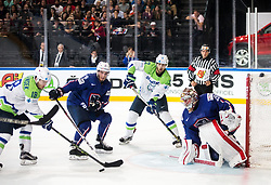 Ken Ograjensek of Slovenia and David Rodman of Slovenia vs Yohann Auvitu of France and Cristobal Huet of France during the 2017 IIHF Men's World Championship group B Ice hockey match between National Teams of France and Slovenia, on May 15, 2017 in AccorHotels Arena in Paris, France. Photo by Vid Ponikvar / Sportida