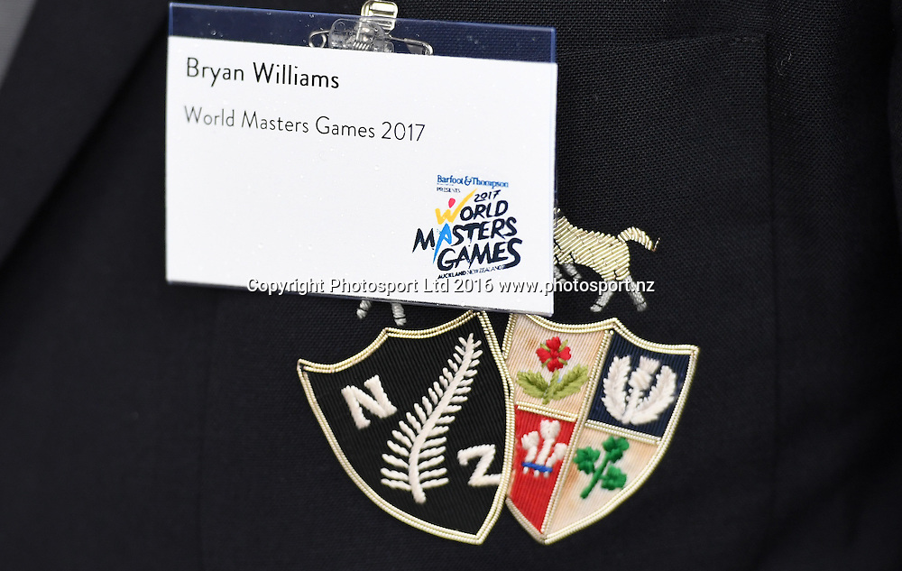 Bryan Williams name tag on his Barbarians jacket. World Masters Games 2017. 6 months to go event concept and celebrations. WMG2017. The Cloud, Auckland, New Zealand, Thursday 20 October 2016. © Copyright photo: Andrew Cornaga / www.photosport.nz