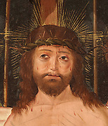 Painting of Christ wearing the crown of thorns, from the altarpiece of St Sebastian, 1503, in Gothic Flemish style, with paintings by Pedro de Aponte and Pedro de Dezpiota and statuettes by Flemish master Gil de Brabante, in the Collegiate Church of Santa Maria la Mayor, originally a 10th century Islamic fortress, then a 12th century Romanesque church and Priory of the Royal Abbey of Montearagon, then collegiate church built 1541-59 by Pedro de Irazabal, at Bolea, Huesca, Aragon, Spain. Picture by Manuel Cohen