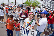02 MAY 2009 -- PHOENIX, AZ: About 1,500 people opposed to Sheriff Joe Arpaio's treatment of prisoners and his high profile crime suppression anti-undocumented raids, marched from his office to downtown Phoenix to the jail complexes on Durango in south Phoenix Saturday. Photo by Jack Kurtz