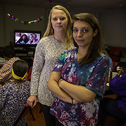 WASHINGTON, DC - OCT11:  Gettysburg College freshman (L-R) Morven Whalley and Anna Malafronte, pose for a portrait in the dining room at the N Street Shelter, in Luther Place Memorial Church, October 10, 2014, where they will volunteer later in the evening sleeping at the shelter. The two students take a literature of homeless course at Gettysburg which brings them to D.C. to learn first-hand about homelessness. (Photo by Evelyn Hockstein/For The Washington Post)