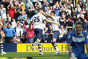 Prestons Jordan Hugill makes it 1-1 during the Sky Bet Championship match between Preston North End and Leeds United at Deepdale, Preston, England on 7 May 2016. Photo by Pete Burns.