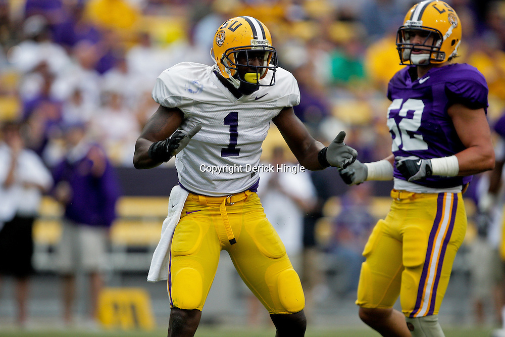 18 April 2009: LSU wide receiver Brandon LaFell (1) celebrates after making a catch during the 2009 LSU spring football game at Tiger Stadium in Baton Rouge, LA.